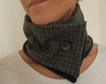 Wool checkered grey wrap