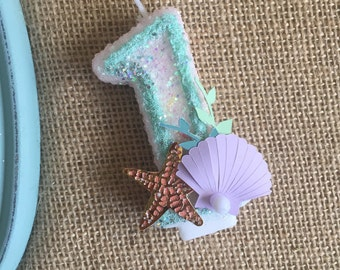 keepsake birthday candle, mermaid theme candle, glitter birthday candle