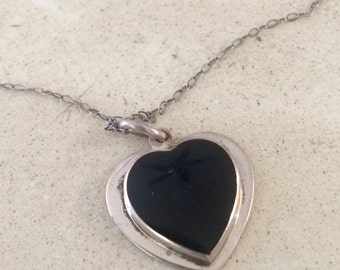 Vintage Sterling Silver Onyx Heart Necklace.