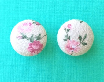 """Handmade """"Spring Bouquet"""" Beige and Pink Floral Print Earrings 3/4"""""""