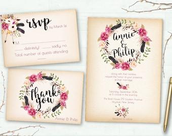 Invitación de la boda, invitación de la boda Boho, Digital imprimible, Floral invitación, invitación de la boda rústica, Suite para imprimir