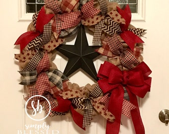 Primitive Star Burlap Wreath - Burgundy Black - 22 inch for front door or accent - plaid