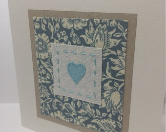 William Morris Fabric card - textile art 'heart' fabric card with 'Mallow' print fabric