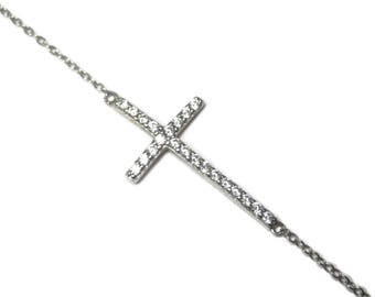 Recycled Sterling Zirconia Cross Bracelet 7.5 Inches