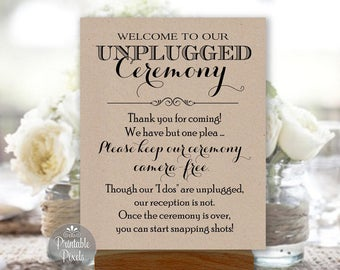 Printable Unplugged Ceremony Sign, Kraft Rustic, Wedding Sign, Choose Your Size (#UNP1K)