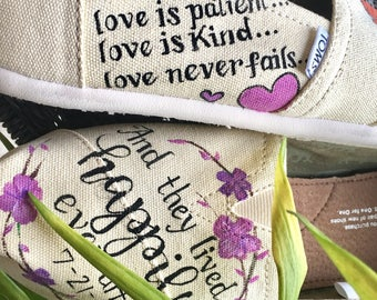Custom DISNEY wedding Toms- Wedding Toms- Happily Ever After- TOMS INCLUDED