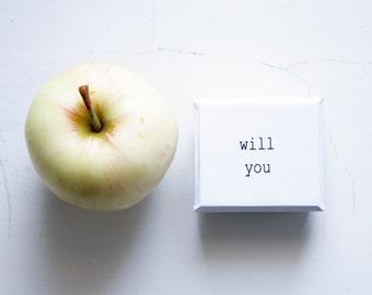 Will You All White Tiny Handmade Cardboard Box