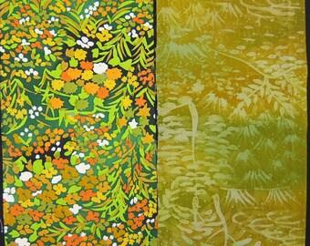 Vintage kimono silk fabric-2 pcs #7405
