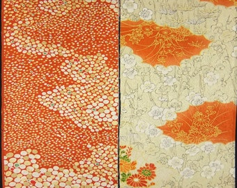 Vintage kimono silk fabric-2 pcs #7453