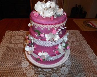 Valentine FAUX Cake, Prop Cake, Fake Cake for No Calorie Celebration, Photo Op for Party, Birthday, Pretty Pink Cake for Lasting Decoration