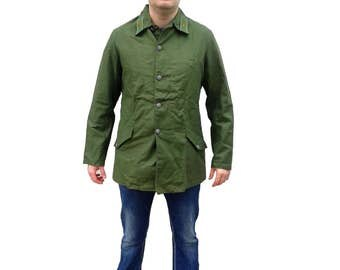 New 1960 vintage Swedish Army green denim jacket military coat combat field work