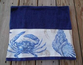 Navy Hand Towel Beach Guest Bath Decor Fish Shell Nautical Decorative Fabric Trim Towel Housewarmning Hostess Wedding Gift
