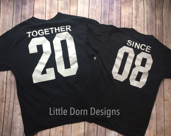 Together since anniversary engagement newlywed honeymoon couple shirt set black white shirts