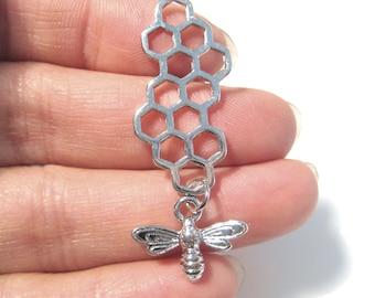 4pcs Silver Tone 3D Honeycomb & Bee Pendants