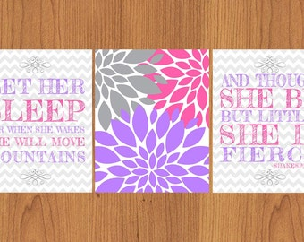 Let Her Sleep For When She Wakes And Though She Be But Little She is Fierce Nursery Wall Art Pink Purple Grey Flower  Set of 3 8x10 (35)