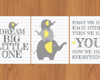 First We Had Each Other Then We Had YOU Family of Elephants Dream Big Little One Grey Yellow Gender Neutral Nursery Decor Set of 3 8x10 (11)