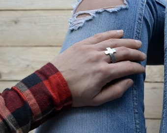 sideways cross ring christian jewelry religous faith ring adjustable raw rustic ring creed