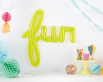 Neon Green FUN Script Balloon, Clear Green Balloon, Party Balloon, Birthday Party, Baby Shower, Bohemian Party, Kids Party, Fiesta Party