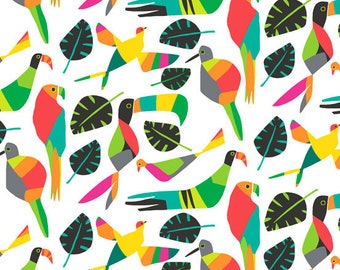 Tropical Birds and Leaves, Foliage Fabric, Rio by Jane Dixon for Andover