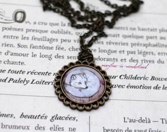 Polar Fox cabochon necklace