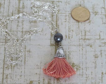 Long Blush Pink and Silver Fringe/Tassel Necklace with Deep Purple Swarovski Pearl