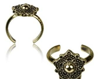 Brass bow flower toe ring golden antique adjustable nickel-free (RB-223)