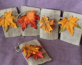"Burlap 3""x 5"" fall leaves bags.  Assorted fall leaves favor bags.  Set of 5 burlap party favor bags"