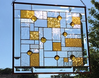Gorgeous Beveled and Faceted Jeweled Amber Stained Glass Panel