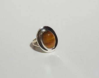 Natural Golden Tiger Eye Gemstone ( Oval 14 x 9 mm ) Cabochon in handmade Solid 925 Silver Ring ANY SIZE AVAILABLE