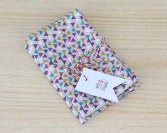 Lot of 2 Kleenex tissue in cotton - purple triangles - zero green reusable washable handkerchief waste - 25 x 25 cm