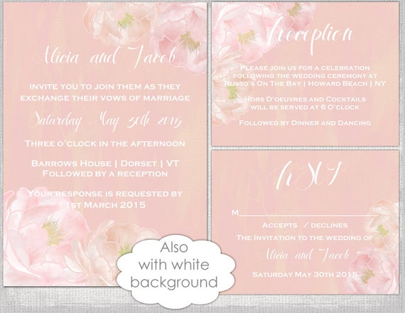 Wedding Invitation Suite Templates: Wedding Invitation Template Suite Watercolor Peony