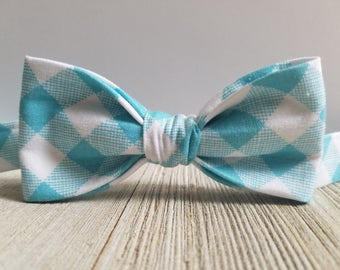 Adjustable Bowtie;Blue Gingham;Wedding Accessories;Tie;Menswear;Boy's Neckties;Ring bearer;Groomsmen; Easter:Floral;Spring; Accessories; Bow