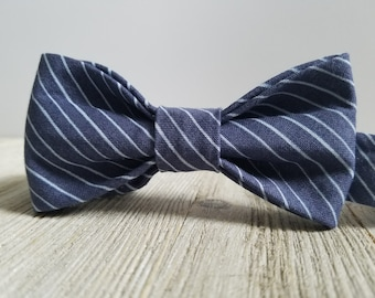 Adjustable Bowtie;NavyPinstripe;Wedding Accessories;Tie;Menswear;Boy's Neckties;Ring bearer;Groomsmen; Easter;Baby;Spring; Accessories; Bow