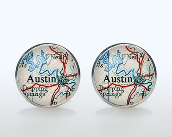 Custom Old Map Cufflinks, Personalized Cuff Links, Your Choice Destination, Silver plated