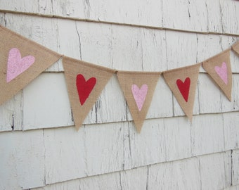 Valentines Day Decor, Heart Banner, Heart Garland, Heart Bunting, Valentines Burlap Banner, Rustic Valentines, Burlap Garland, Pink and Red