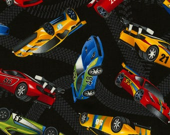 Race Cars Fabric Fat Quarter, Third Yard, Half Yard, or By The Yard; C5401; Timeless Treasures; Novelty Fabric; Juvenile; Cars
