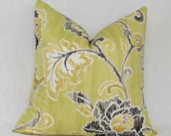"Green gray floral decorative throw pillow cover. 18"" x 18"" toss pillow."
