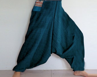 Rough cotton harem pants in a natural. Green