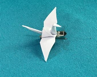 Peace Crane Brooch - White Peace Crane Pin - Origami Crane Pin - Symbol of Peace