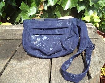 Blue floral jeans fanny pack,hip bag,belt bag