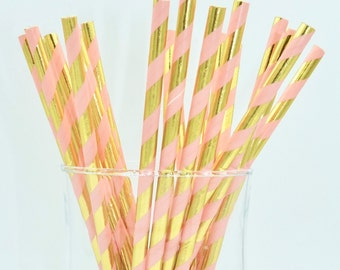 Pack of 25 coral and metallic gold paper straws - candy bar - birthday party - baby shower - wedding