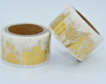 Foil Washi Tape roll -white with Paris monuments gold  - Gift - decoration planner supplies bestseller cheap scrapbooking