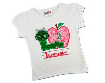 Girl Pink Apple Birthday Shirt with Number and Embroidered Name