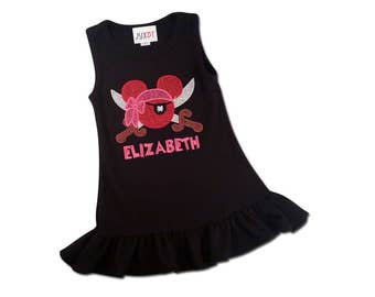 Mouse Pirate Princess Dress with Embroidred Name