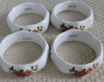 4 BONE CHINA Napkin Rings, Red Roses, Green Leaves