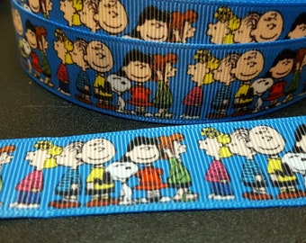 Blue w/Peanuts gang printed 7/8 in grosgrain ribbon for hair bows scrapbooking other crafts-sold in lengths of 1, 3 or 5 yards - M2295