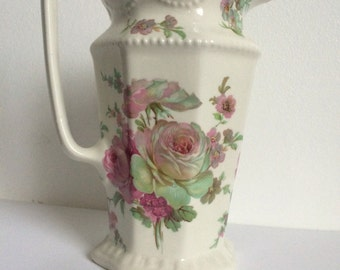 Gorgeous Vintage Shabby Chic Pitcher/Flower Vase