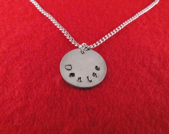 Hand stamped personalized name tag (19 mm) on silver plated chain/replacement charm