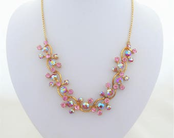 Vintage Pink Toned Aurora Borealis and Pink Rhinestone Gold Tone Chain Necklace