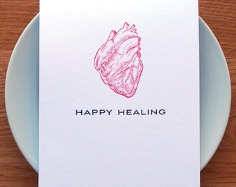 get well card // feel better // get well soon // anatomical heart card // happy healing card